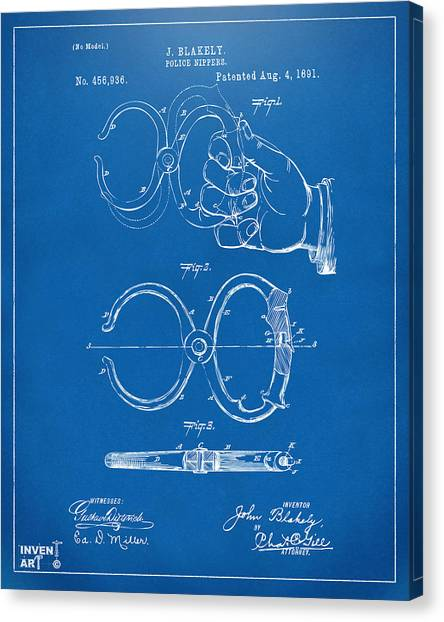 Police Officers Canvas Print - 1891 Police Nippers Handcuffs Patent Artwork - Blueprint by Nikki Marie Smith