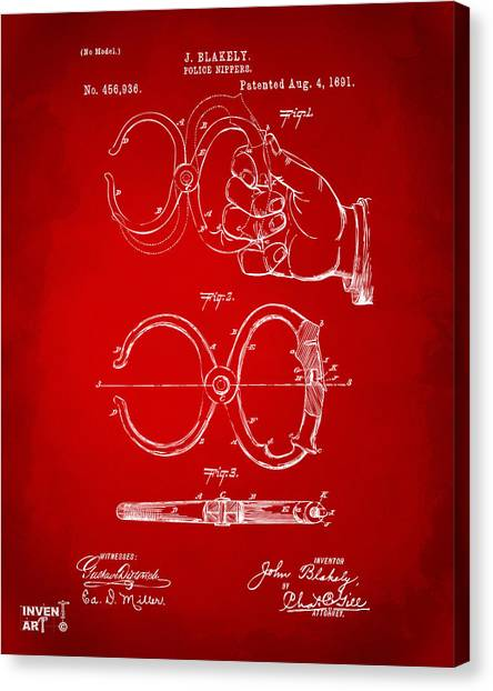 Police Officers Canvas Print - 1891 Police Nippers Handcuffs Patent Artwork - Red by Nikki Marie Smith