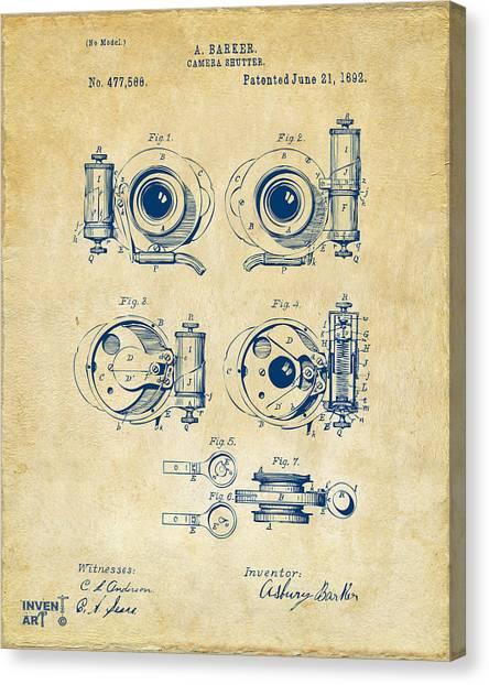 Vintage Camera Canvas Print - 1892 Barker Camera Shutter Patent Vintage by Nikki Marie Smith