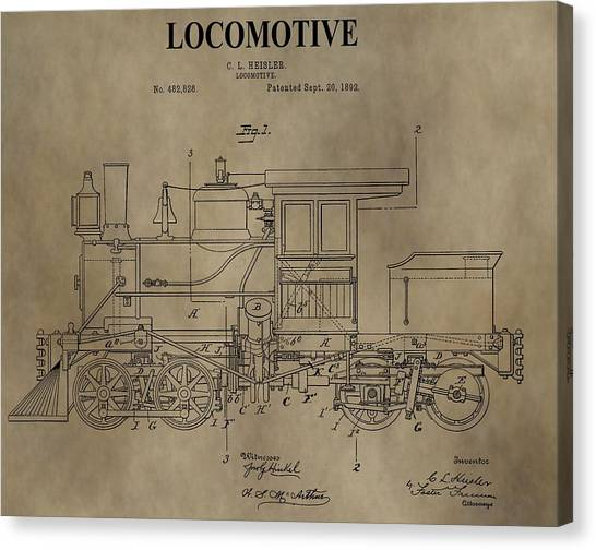 Train Conductor Canvas Print - 1892 Locomotive Patent by Dan Sproul