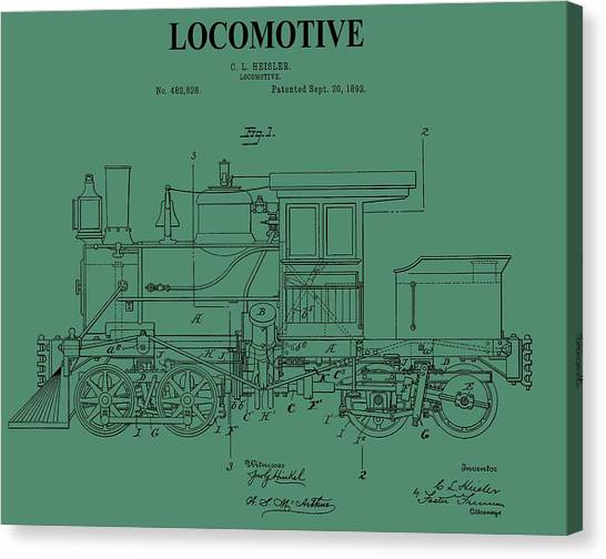 Train Conductor Canvas Print - 1892 Locomotive Patent On Green by Dan Sproul