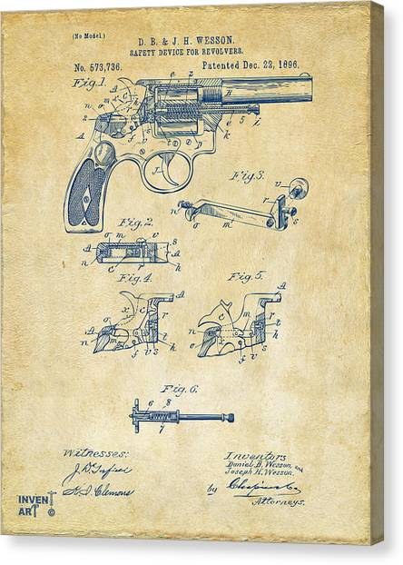Media Canvas Print - 1896 Wesson Safety Device Revolver Patent Artwork - Vintage by Nikki Marie Smith