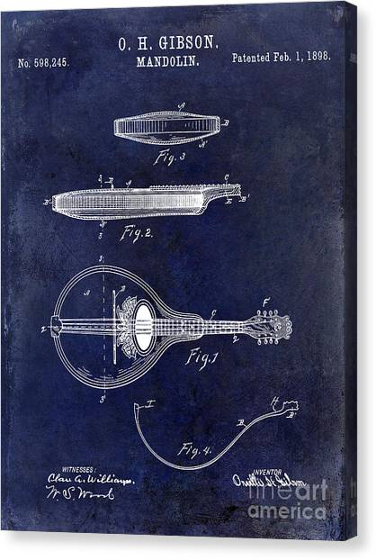 Mandolins Canvas Print - 1898 Gibson Mandolin Patent Drawing Blue by Jon Neidert