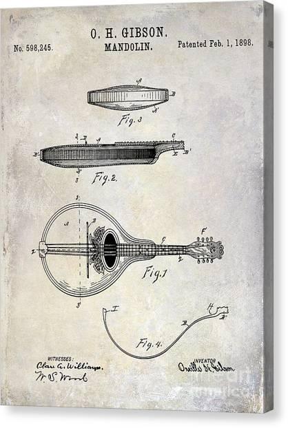 Mandolins Canvas Print - 1898 Gibson Mandolin Patent Drawing by Jon Neidert