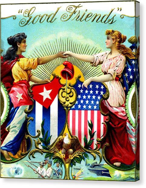 1898 Good Friends Cuban Cigars Canvas Print