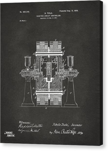 Media Canvas Print - 1898 Tesla Electric Circuit Patent Artwork - Gray by Nikki Marie Smith