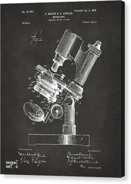 Media Canvas Print - 1899 Microscope Patent Gray by Nikki Marie Smith