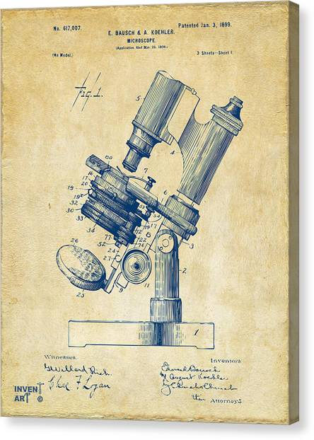Canvas Print featuring the digital art 1899 Microscope Patent Vintage by Nikki Marie Smith