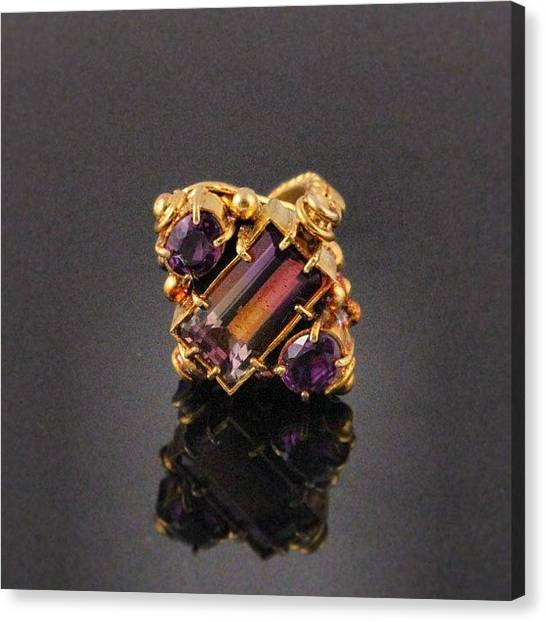 Gemstones Canvas Print - #18kt #yellow #gold #ring With #5.8ct by Daniel Icaza