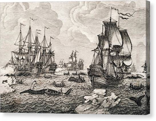 18th Century Dutch Whaling Fleet Canvas Print by George Bernard/science Photo Library