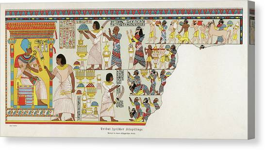 18th Dynasty  Syrian Chiefs Pay Tribute Canvas Print by Mary Evans Picture Library