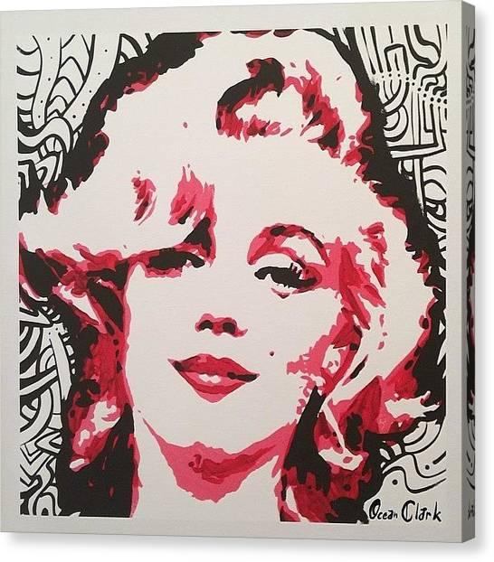 Marilyn Monroe Canvas Print - 18x18 Marylin Monroe Signed Canvas by Ocean Clark