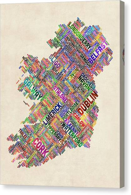 Irish Canvas Print - Ireland Eire City Text Map by Michael Tompsett