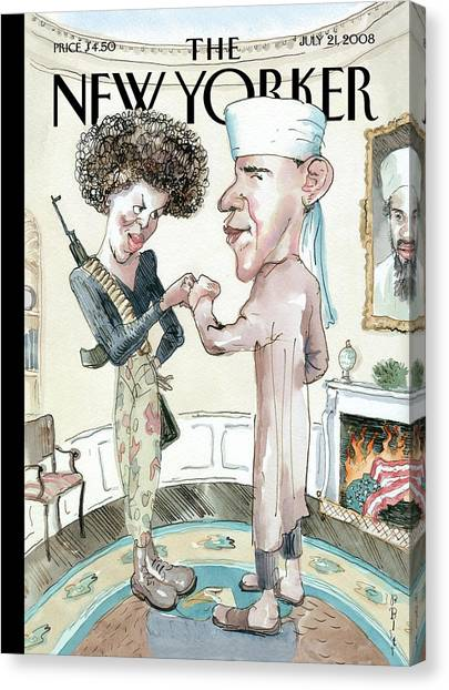 Muslim Canvas Print - New Yorker July 21st, 2008 by Barry Blitt