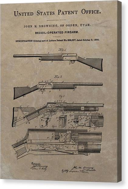Nra Canvas Print - 1900 Firearm Patent  by Dan Sproul