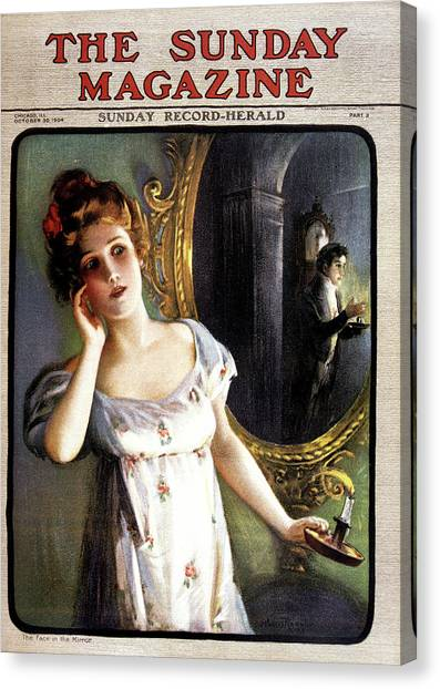 Apparition Canvas Print - 1900s 1904 Woman With Candle Sees Man by Vintage Images