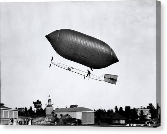 Blimps Canvas Print - 1900s 1910s Lincoln Beachey Airship by Vintage Images