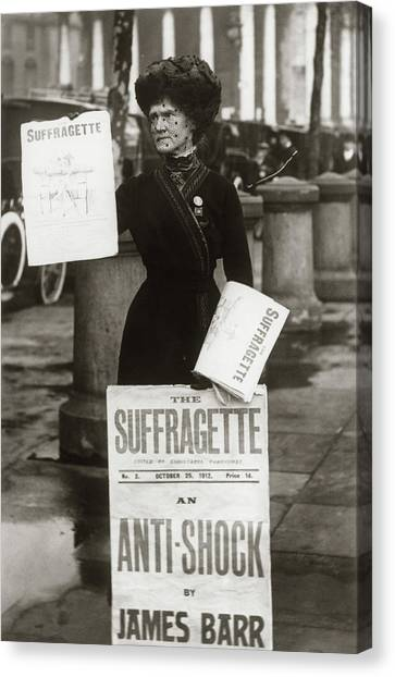Womens Rights Canvas Print - 1900s British Suffragette Woman by Vintage Images
