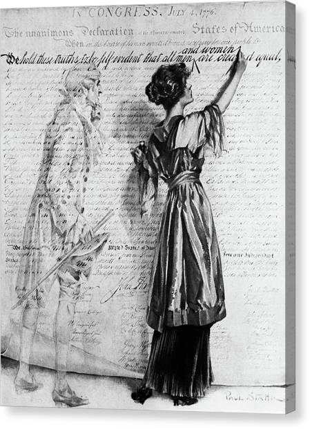 Womens Rights Canvas Print - 1900s Illustration Of Turn Of The 20th by Vintage Images