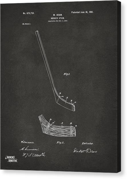 Hockey Players Canvas Print - 1901 Hockey Stick Patent Artwork - Gray by Nikki Marie Smith