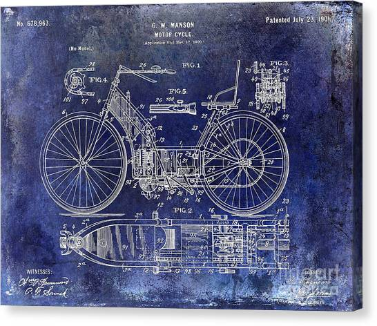 Ducati Canvas Print - 1901 Motorcycle Patent Drawing Blue by Jon Neidert