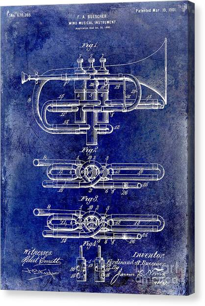 Axes Canvas Print - 1901 Wind Musical Instrument Patent Drawing Blue by Jon Neidert