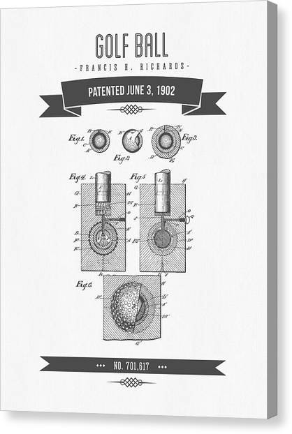 Golf Canvas Print - 1902 Golf Ball Patent Drawing - Retro Gray by Aged Pixel