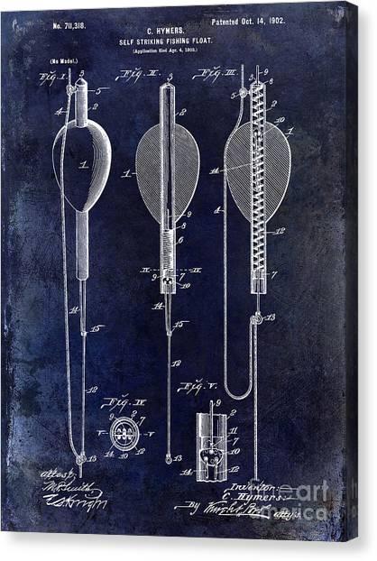 Fishing Poles Canvas Print - 1902 Self Strike Fish Float Patent by Jon Neidert