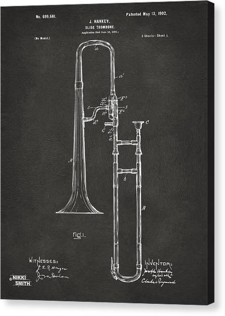 Trombones Canvas Print - 1902 Slide Trombone Patent Artwork - Gray by Nikki Marie Smith