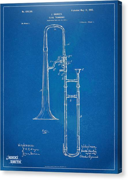 Trombones Canvas Print - 1902 Slide Trombone Patent Blueprint by Nikki Marie Smith