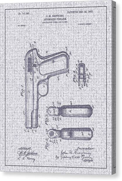 1903 Browning Automatic Pistol Patent Canvas Print by Barry Jones
