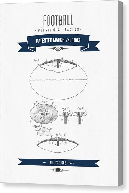 Gridiron Canvas Print - 1903 Football Patent Drawing - Navy Blue by Aged Pixel