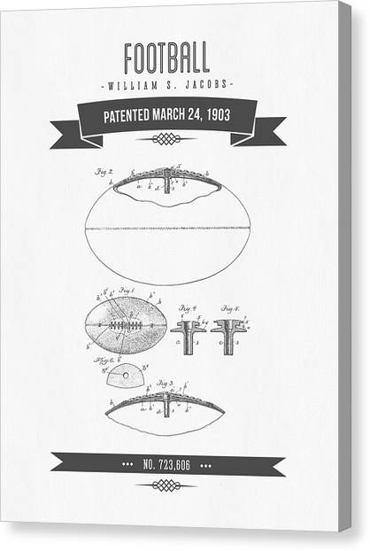 Gridiron Canvas Print - 1903 Football Patent Drawing - Retro Gray by Aged Pixel