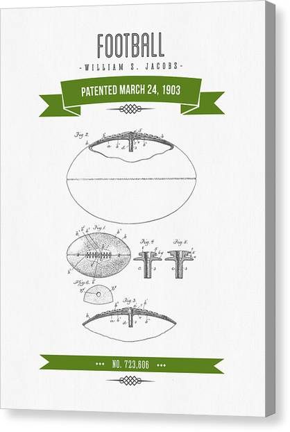 Gridiron Canvas Print - 1903 Football Patent Drawing - Retro Green by Aged Pixel