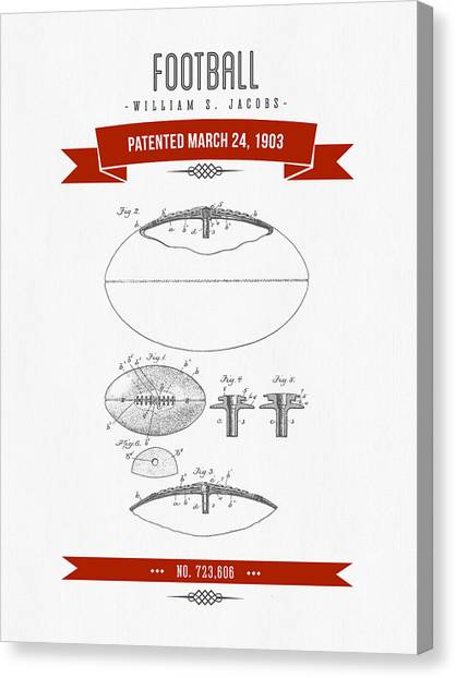 Gridiron Canvas Print - 1903 Football Patent Drawing - Retro Red by Aged Pixel