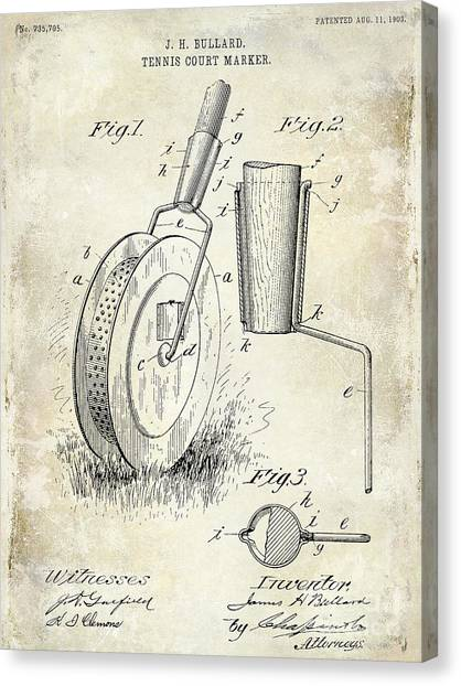 Tennis Racquet Canvas Print - 1903 Tennis Court Marker Patent Drawing by Jon Neidert