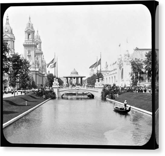 1904 Worlds Fair Lagoon And Electricity Building Canvas Print