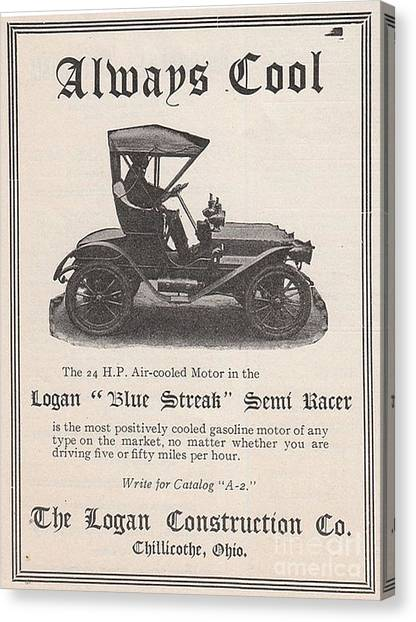 1905 Logan Automobile Poster Canvas Print