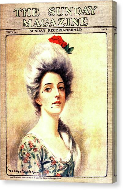 Beauty Mark Canvas Print - 1905 Magazine Cover Portrait Of 1700s by Vintage Images