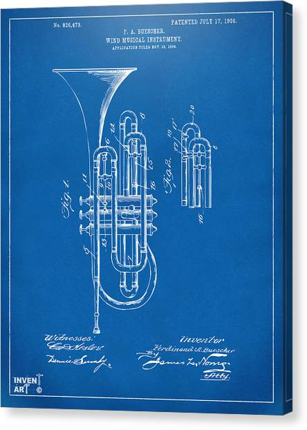 Marching Band Canvas Print - 1906 Brass Wind Instrument Patent Artwork Blueprint by Nikki Marie Smith