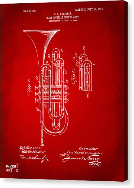 Marching Band Canvas Print - 1906 Brass Wind Instrument Patent Artwork Red by Nikki Marie Smith