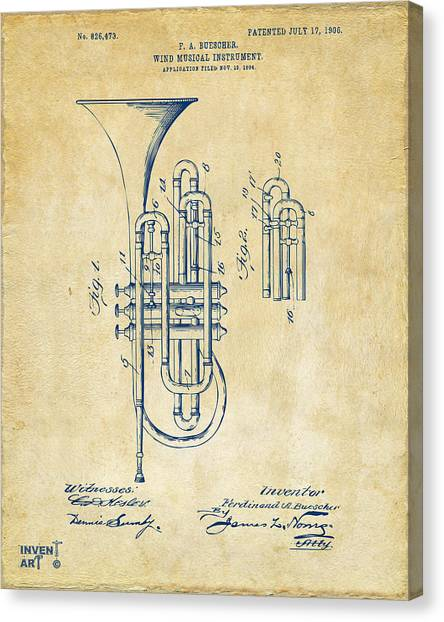 Marching Band Canvas Print - 1906 Brass Wind Instrument Patent Artwork Vintage by Nikki Marie Smith