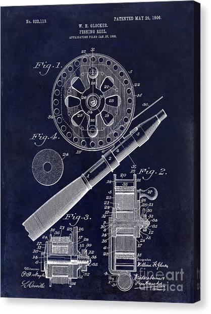 Bass Fishing Canvas Print - 1906 Fishing Reel Patent Drawing Blue by Jon Neidert