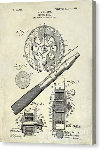 Fly Fishing Canvas Print - 1906 Fishing Reel Patent Drawing by Jon Neidert