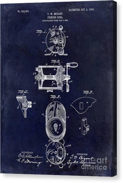 Fishing Poles Canvas Print - 1906 Fishing Reel Patent Drawing.blue by Jon Neidert