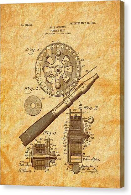 1906 Glocker Fishing Reel Patent Canvas Print by Barry Jones
