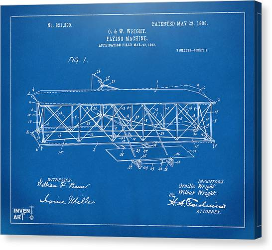 Canvas Print featuring the digital art 1906 Wright Brothers Flying Machine Patent Blueprint by Nikki Marie Smith