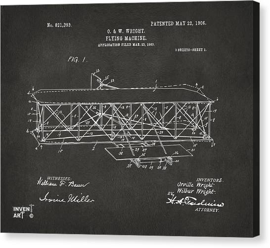 Airplane schematic canvas prints fine art america airplane schematic canvas print 1906 wright brothers flying machine patent gray by nikki marie smith ccuart Images
