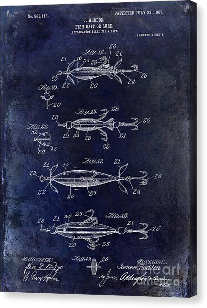 Fishing Poles Canvas Print - 1907 Fishing Lure Patent Blue by Jon Neidert