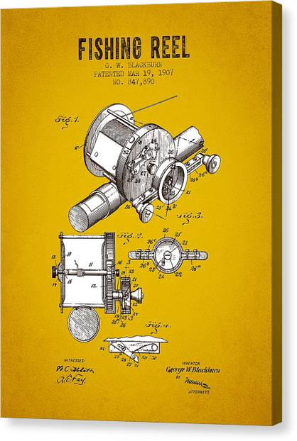 Bass Fishing Canvas Print - 1907 Fishing Reel Patent - Yellow Brown by Aged Pixel